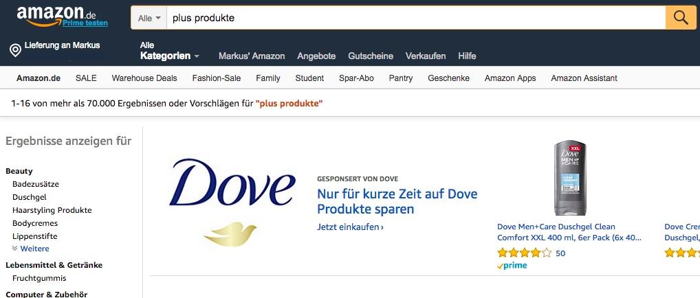 Amazon Plus Produkte finden