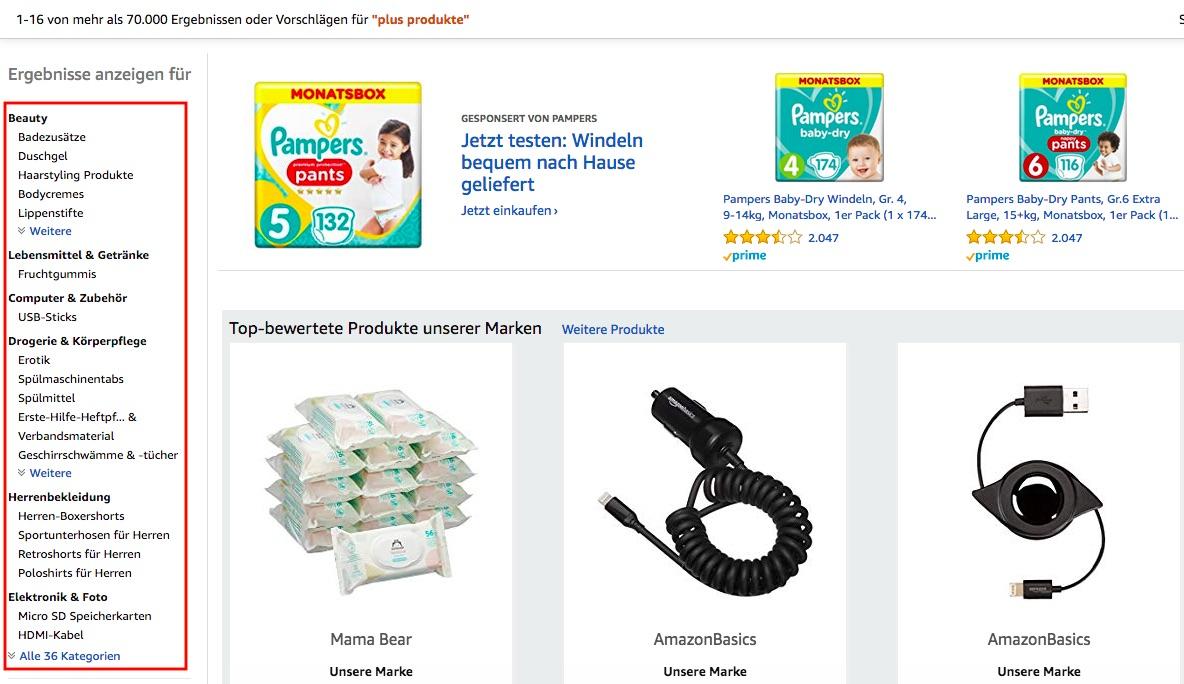 Amazon Plus Produkte Kategorien