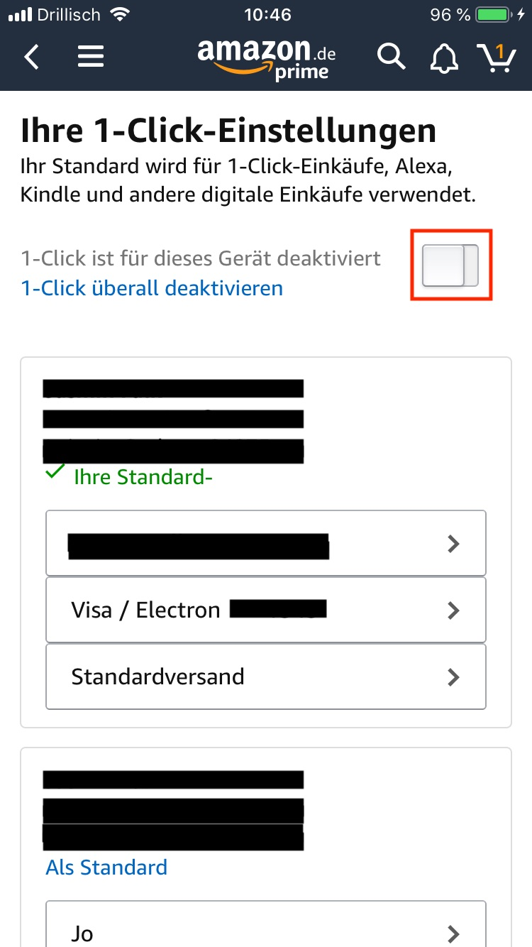 Amazon 1-Click in der App