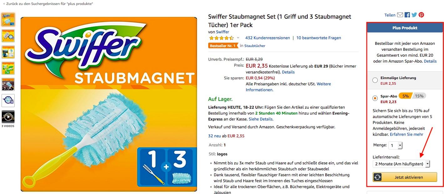 Amazon Plus Produkte Spar-Abo