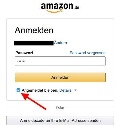 Bei Amazon angemeldet bleiben