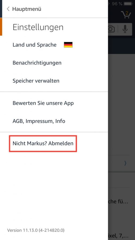 Abmelden in den Amazon-Einstellungen