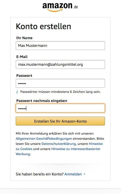 Amazon Konto erstellen
