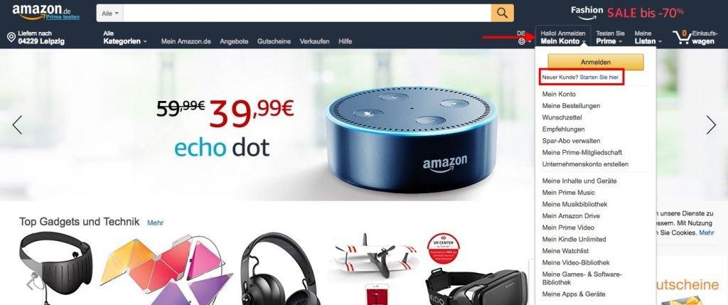 Konto bei Amazon anmelden