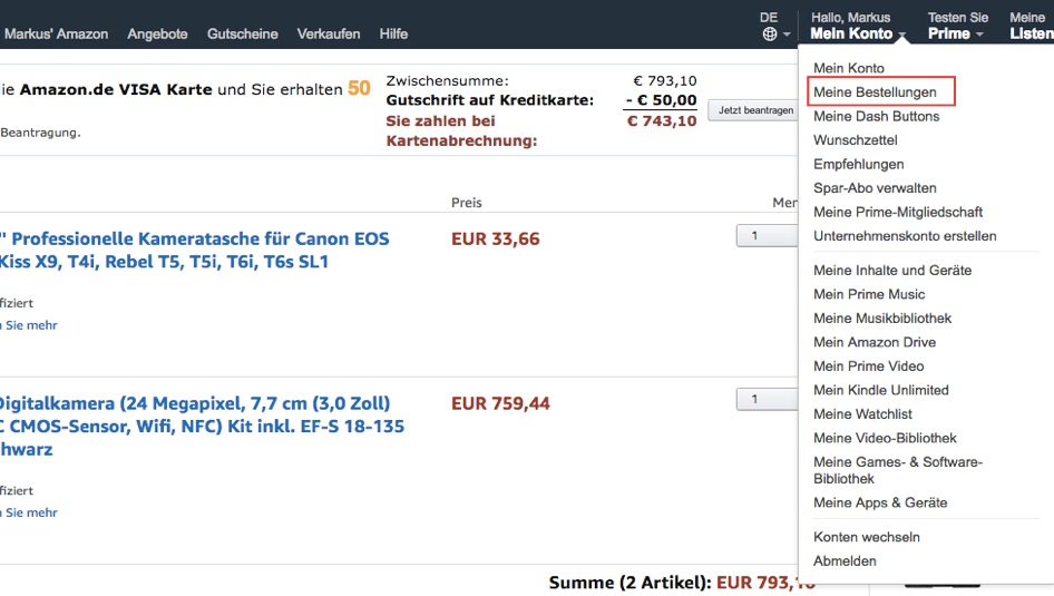 Bestellungen bei Amazon einsehen