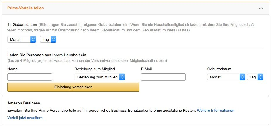 Amazon Prime Familienfreigabe