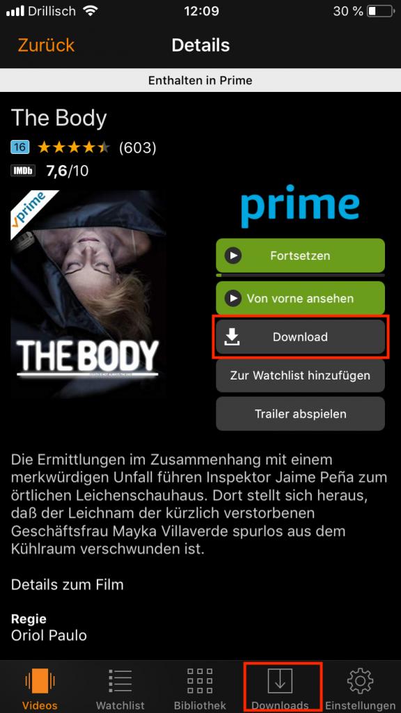Amazon Prime Sendungen herunterladen