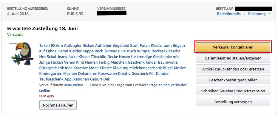 Verkäufer bei Amazon kontaktieren