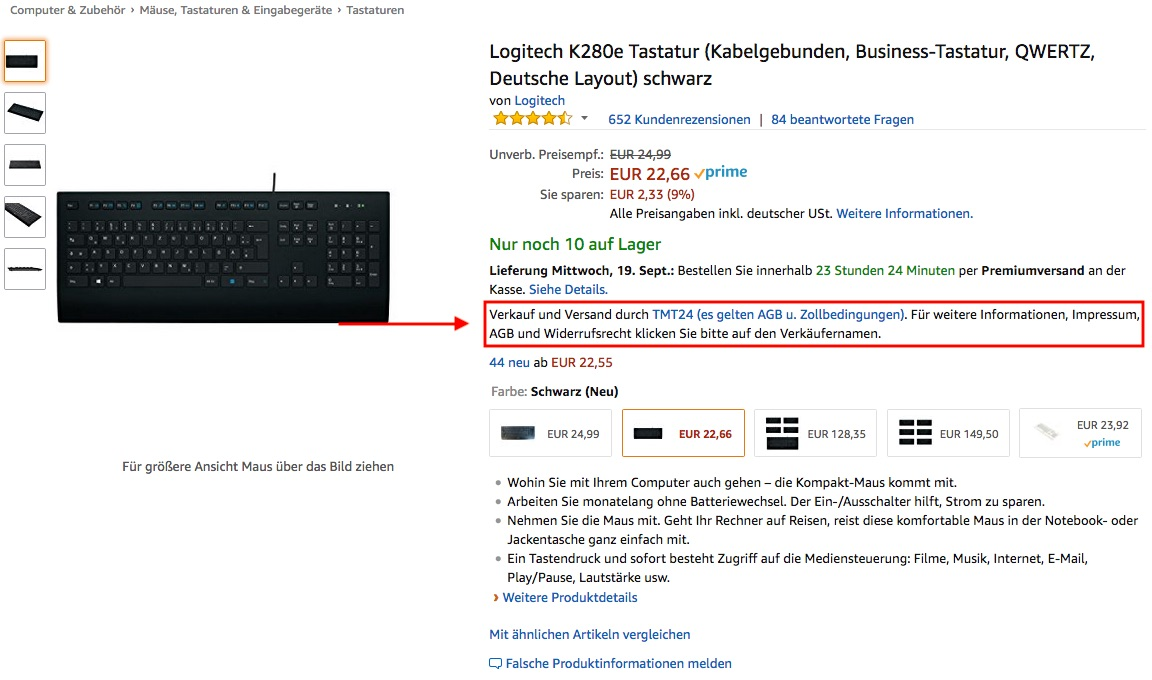 Verkäufer Kontaktdaten bei Amazon finden