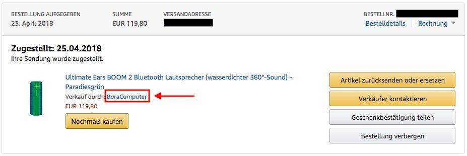 Amazon Verkäufer kontaktieren