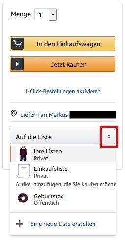 Amazon Wunschzettel Artikel zur Liste hinzufügen