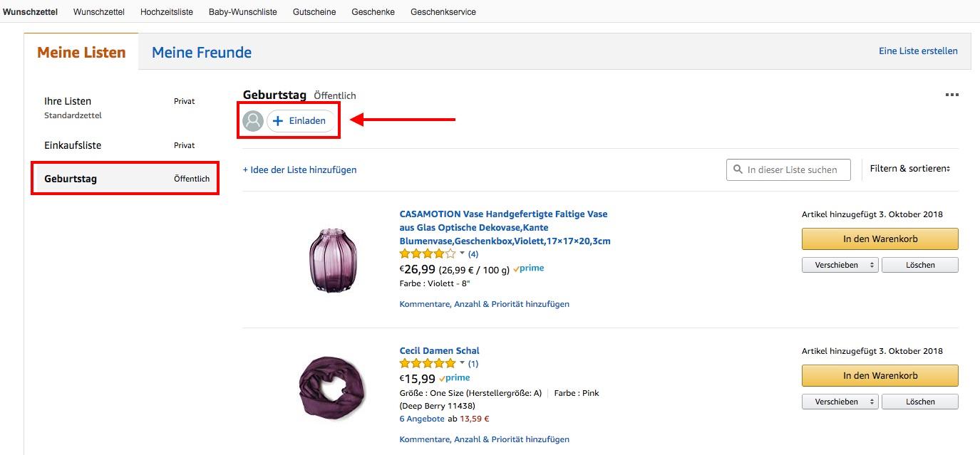 Amazon Wunschzettel Liste teilen