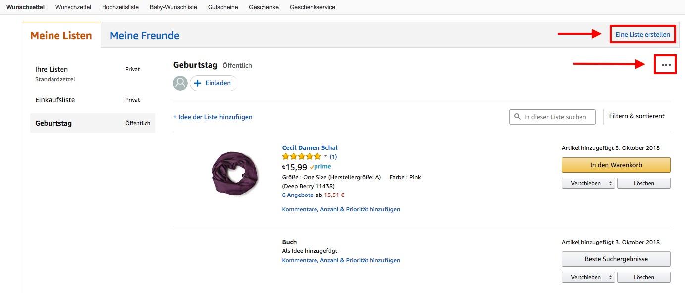 Amazon Wunschzettel Listen bearbeiten