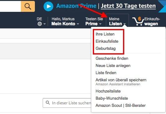 Amazon Wunschzettel Meine Listen