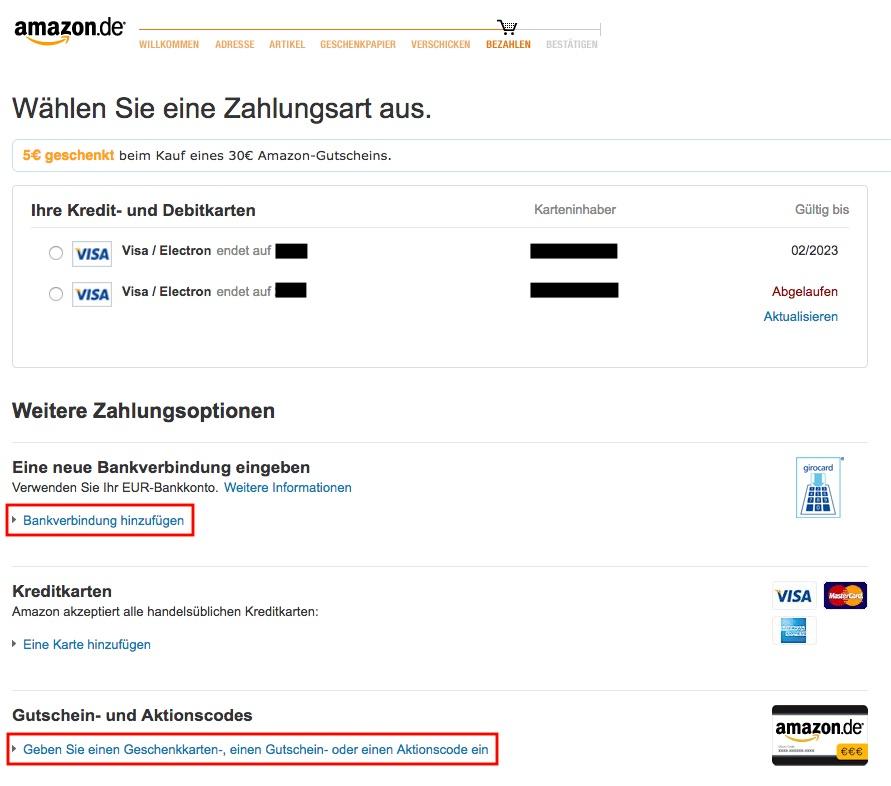 Zahlungsart auswählen bei Amazon