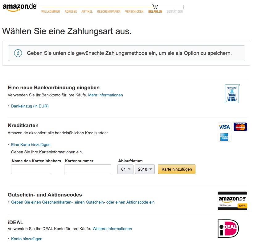Zahlungsart bei Amazon hinzufügen