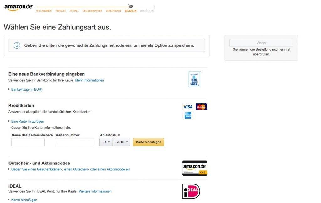 Amazon Zahlungsart wählen