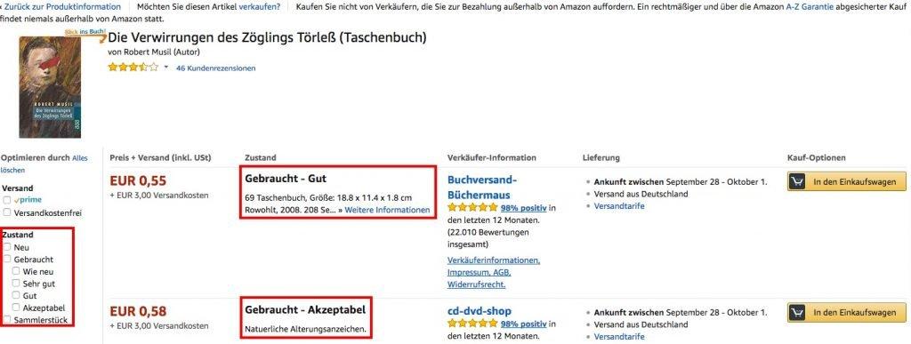 Gebrauchte Produkte Amazon Zustand
