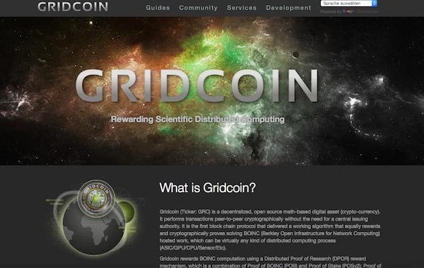 Die Startseite von Gridcoin
