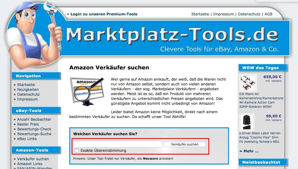 Amazon Verkäufer finden
