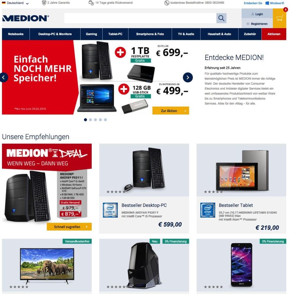 Der Medion Onlineshop