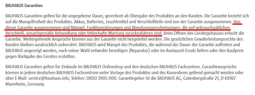 Garantieanspruch Bauhaus