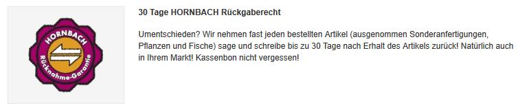Bei Hornbach zurückgeben