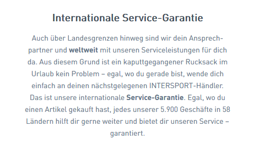 Intersport Service-Garantie