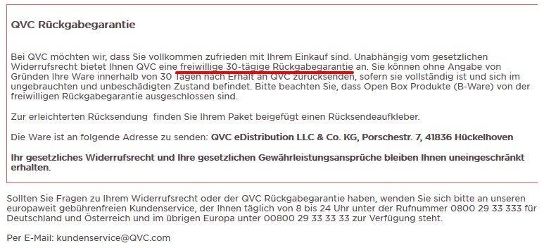 QVC Rückgabegarantie