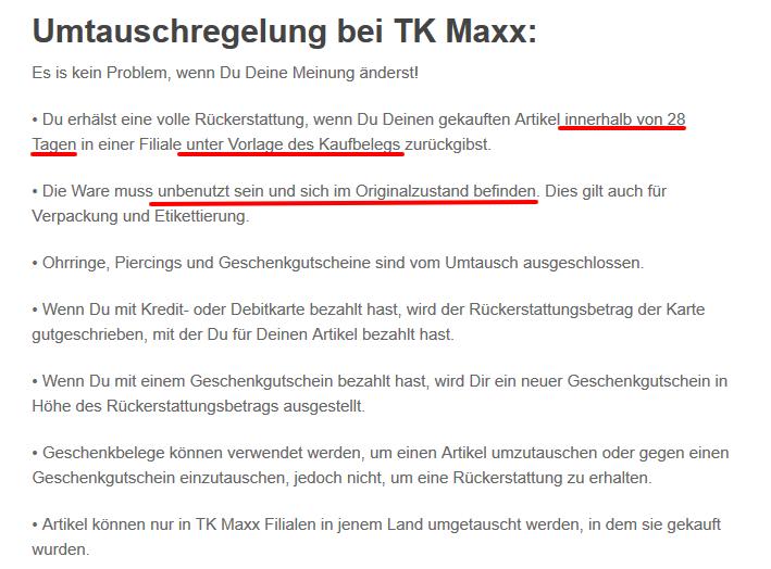 TK Maxx umtauschen