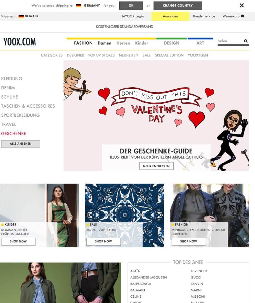 Der Yoox Onlineshop