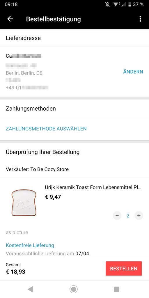 Zahlungsmethode in der Aliexpress-App auswählen
