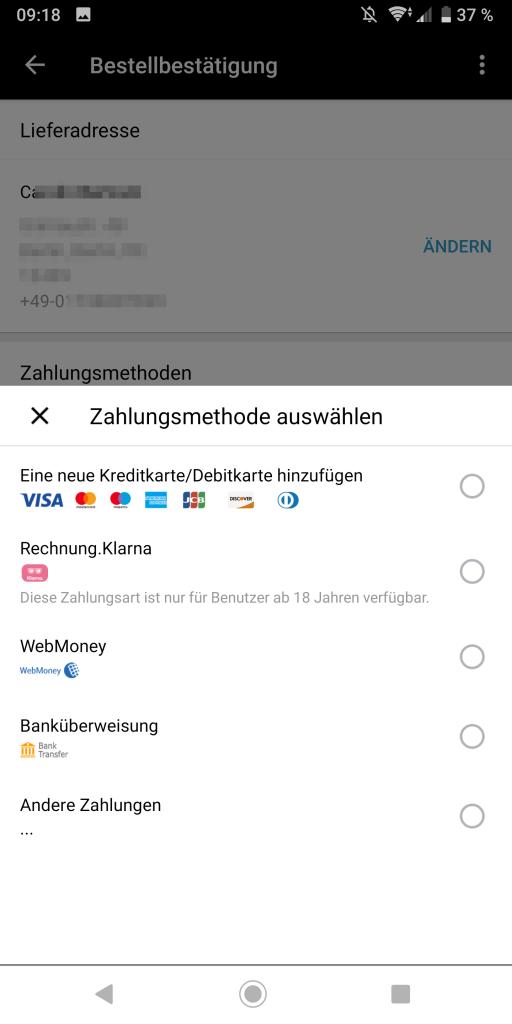Zahlung mit Klarna auswählen & bestätigen