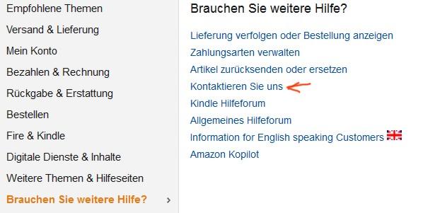 Amazon wegen DHL kontaktieren