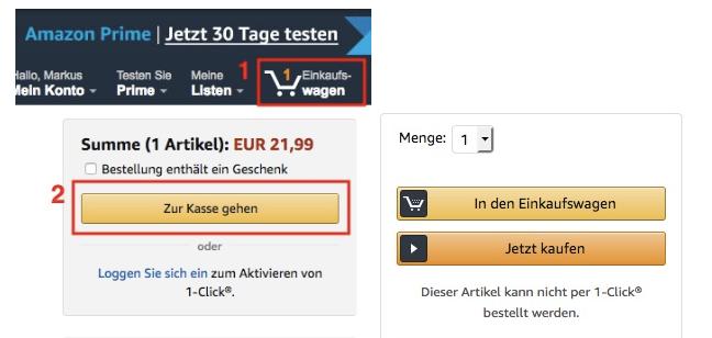 Produkt bei Amazon kaufen und Packstation auswählen