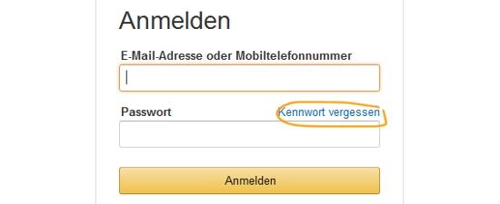 Bei Amazon Passwort anfordern