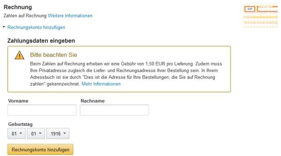 Amazon Kauf auf Rechnung
