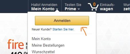 Bei Amazon einloggen