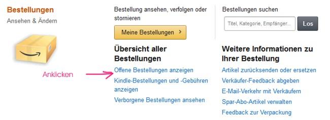 Amazon Stornierung offene Bestellung