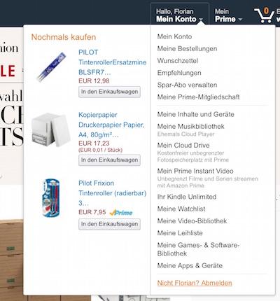Amazon Bestellungen anzeigen