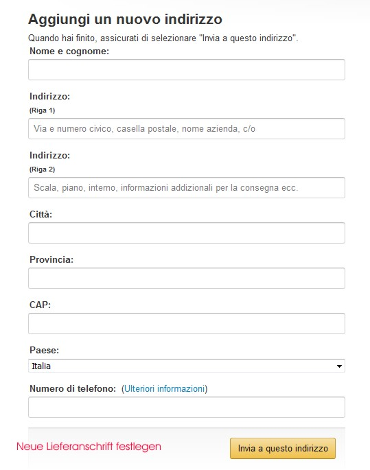 Amazon Italien Lieferanschrift festlegen