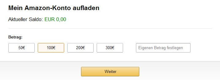 Amazon Konto aufladen