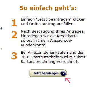 Amazon Kreditkarte beantragen