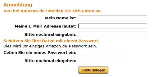 Amazon Neuanmeldung