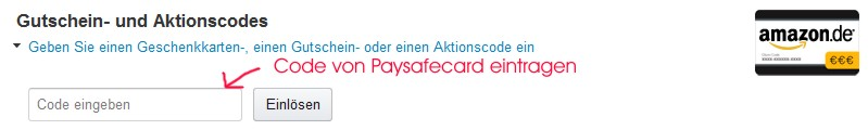 Paysafecard Code eintragen