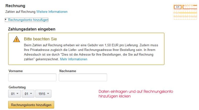 Amazon Rechnungskonto hinzufügen
