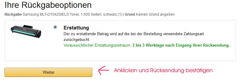 Amazon Rückgabeoption