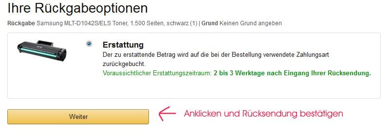 Amazon Rückgabeoption