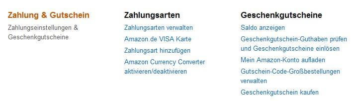 Amazon Zahlungsarten verwalten