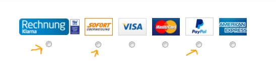 Zahlungsart im Asos Shop auswählen